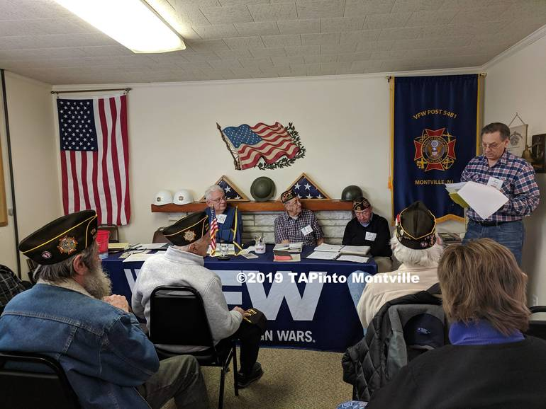 a The March 12 VFW meeting, where Ken Hanzl standing right reads of Turner's Army record ©2019 TAPinto Montville.jpg