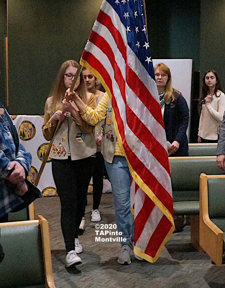 a The Girl Scouts present the colors ©2020 TAPinto Montville WATERMARKED.JPG