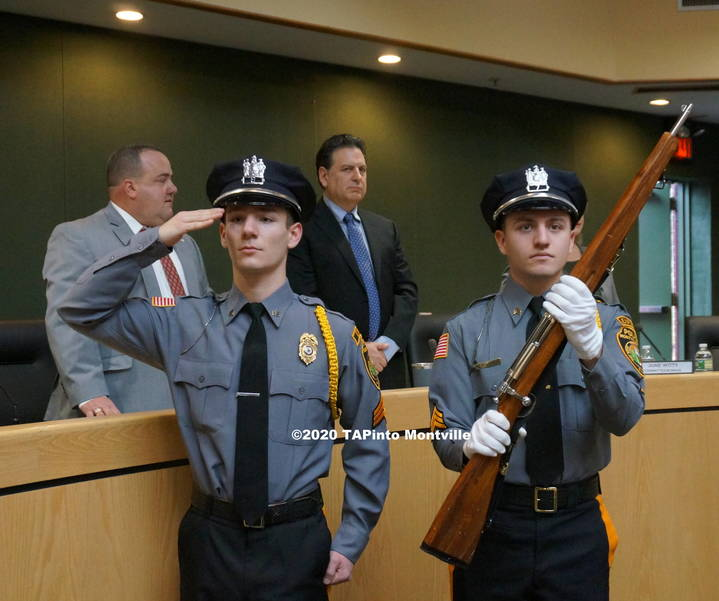 a The Montville Police Explorers bring in the colors ©2020 TAPinto Montville  2.JPG