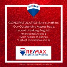 RE/MAX Neighborhood Properties Has A Record-Breaking August