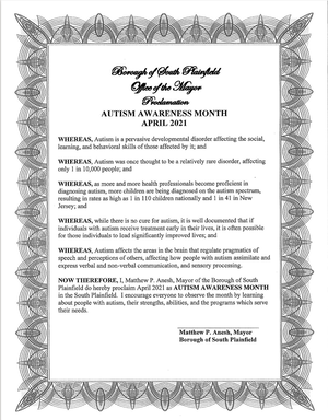 Mayor Anesh: April 2021 is National Autism Awareness Month in South Plainfield