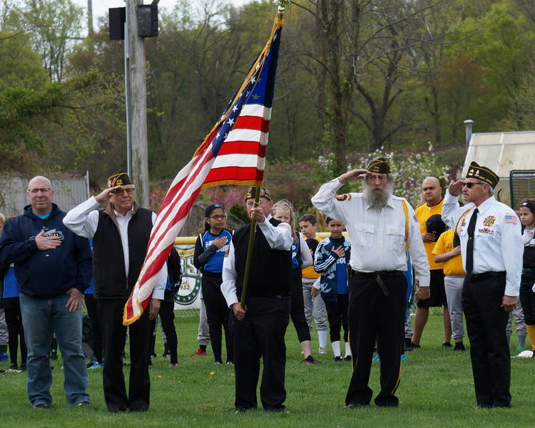 a Veterans Tom Mazzaccaro, Joe Coll, Dick Gamsby and Dominick D'Andrea form the honor guard ©2019 TAPinto Montville.JPG
