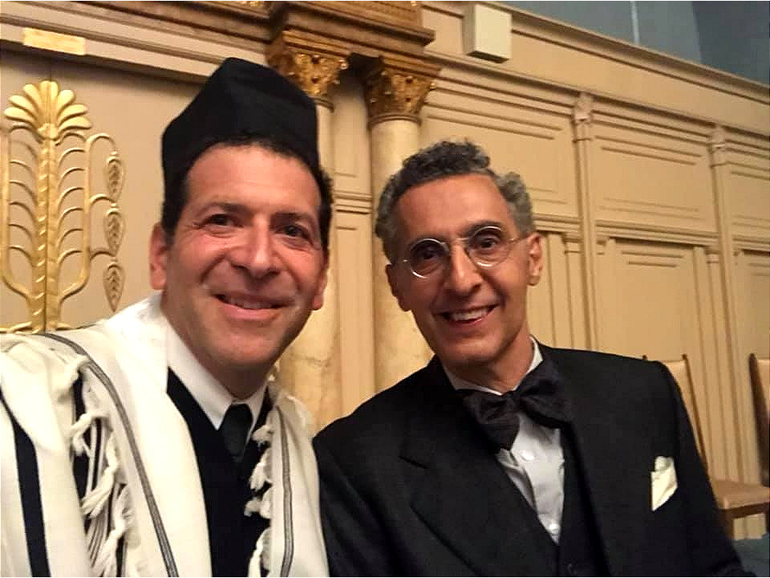 Matt Axelrod, the cantor at Congregation Beth Israel (CBI) in Scotch Plains, with actor John Tuturro on the set of The Plot Against America.
