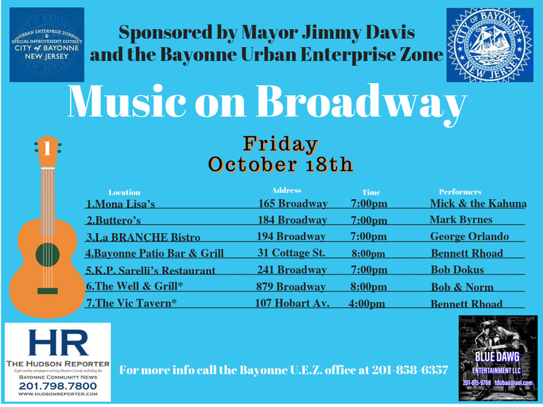 Seven Venues Set for Friday's 'Music on Broadway' Series