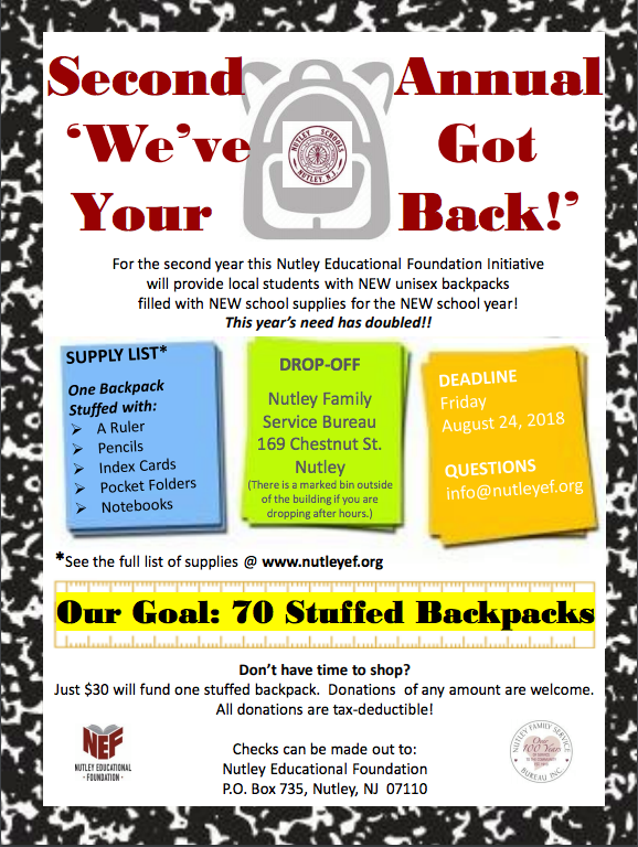 NEF Backpack Drive for NFSB Heads Toward Homestretch for Nutley Families