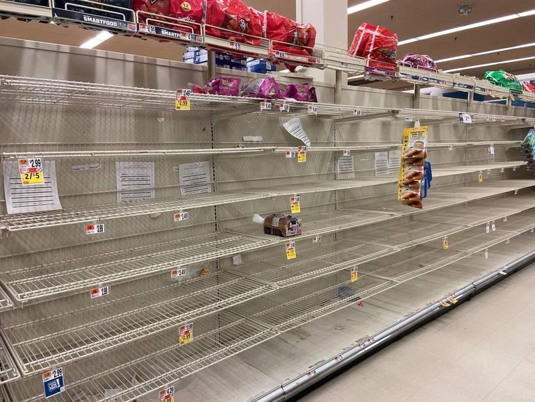 Bare Shelf at Supermarket