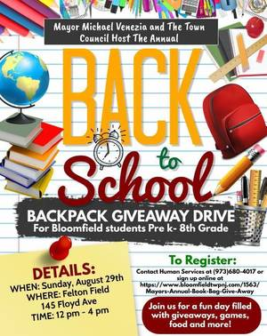 Mayor Venezia and the Town Council to Host Annual Back to School Backpack Giveaway Drive This Sunday