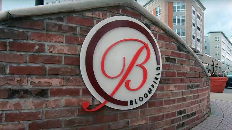 Bloomfield Center sign at Six Points