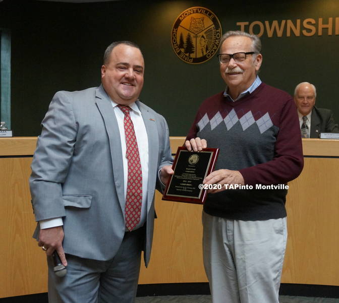b Dan Grant is honored by the committee ©2020 TAPinto Montville.JPG