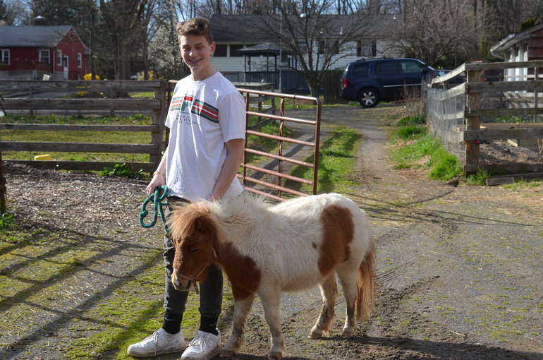 Ben Pritzker with Tiki the miniature horse in Scotch Plains.