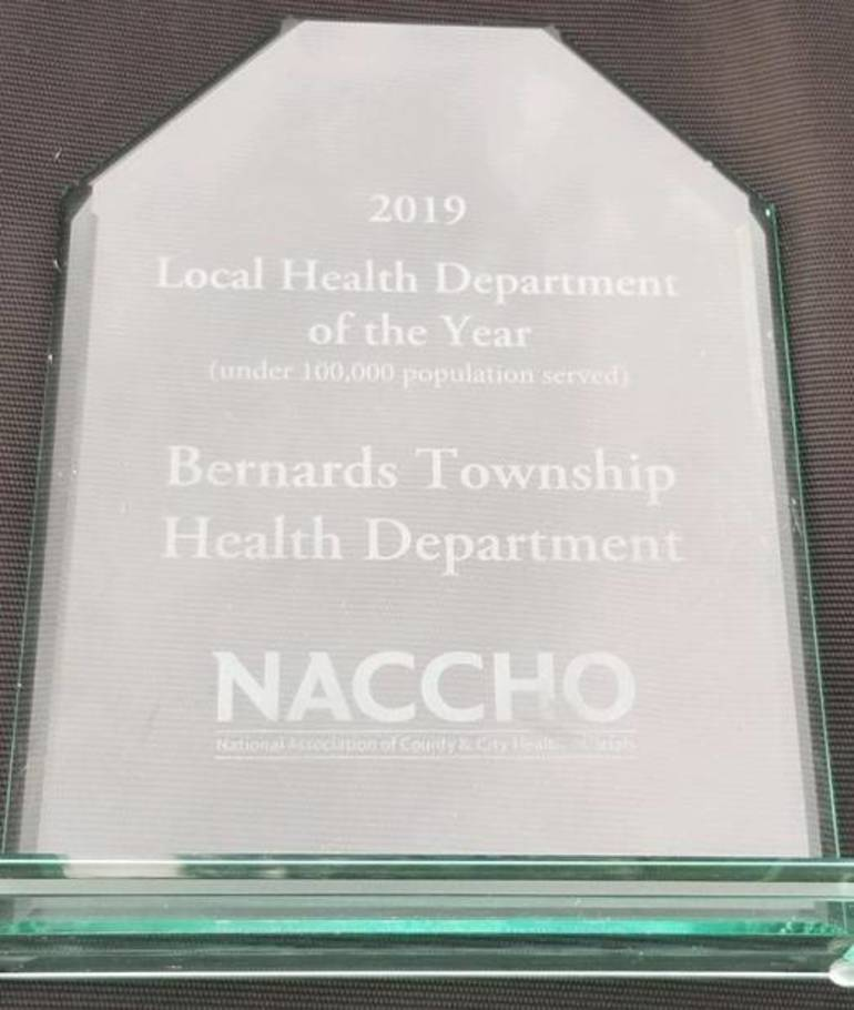 Award for Bernards Twp. Health Department