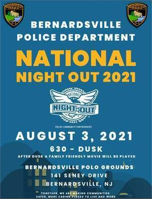 Bernardsville's National Night Out Slated for Tuesday, Aug. 3