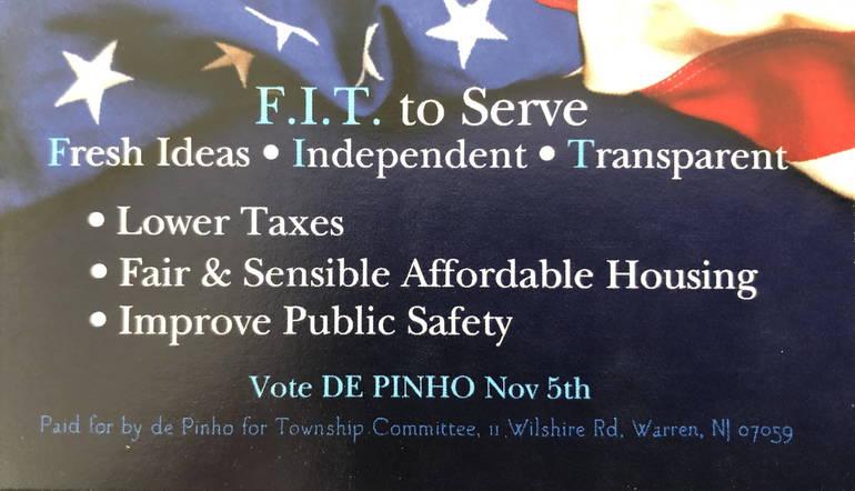 "de Pinho  ""FIT to Serve"" residents best on Warren Township Committee"