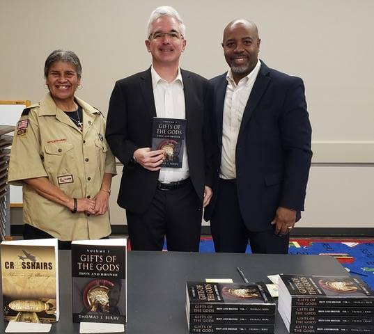 Local Author Thomas Berry at his book signing with Diane Pender and Councilman Derryck White
