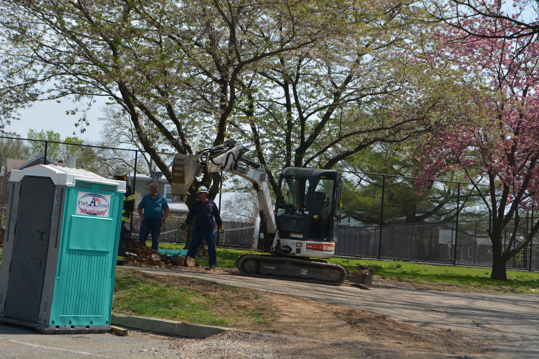 BobCat Excavator Rear of Belmont Hills Library.JPG
