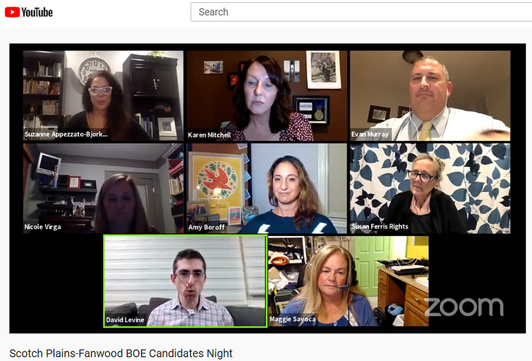 Scotch Plains-Fanwood BOE Candidates Night was conducted via Zoom.