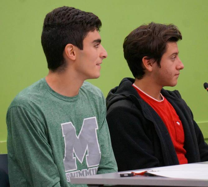 Board of Ed student liaisons Malik Amer and Mason Hohil in Nov. 2018.JPG