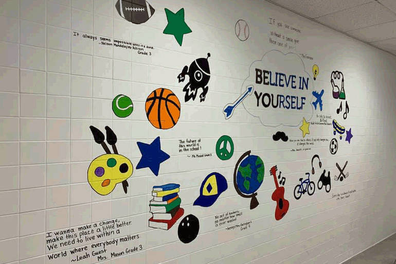 Franklin School Boys 3rd /4th Grade Bathroom Mural