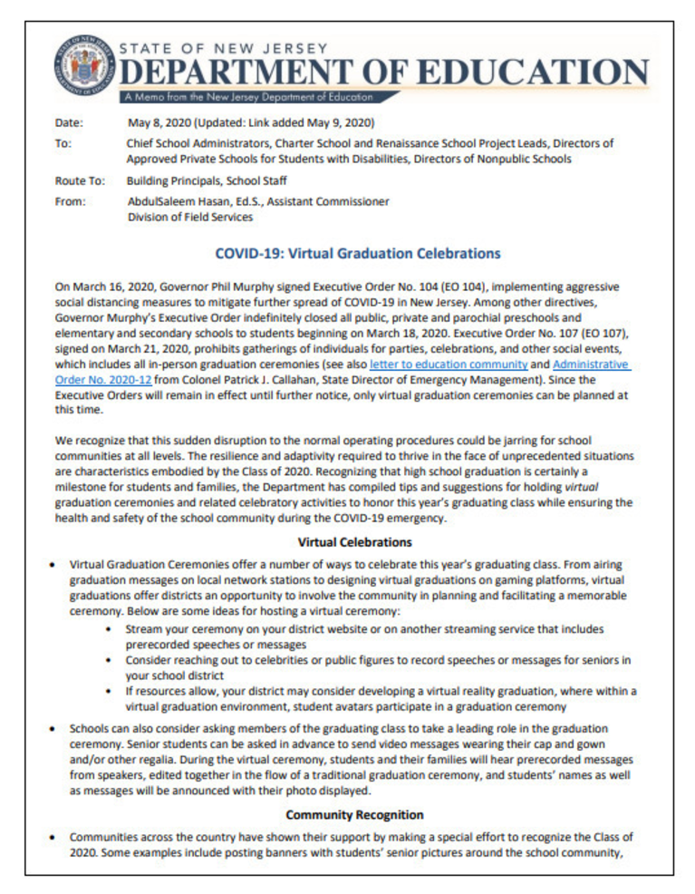 NJ Department of Education letter to school districts