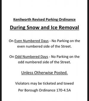 Kenilworth Revised Parking Ordinance During Snow and Ice Removal