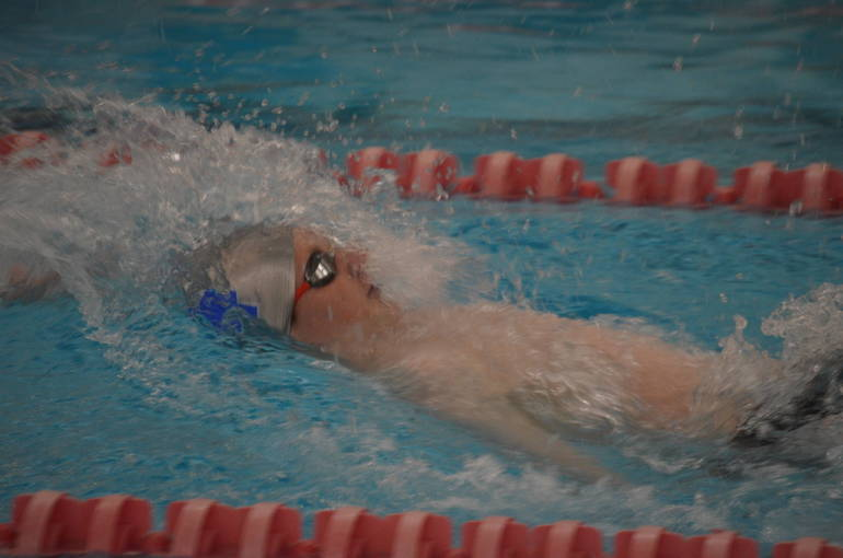 Scotch Plains-Fanwood swimming's Bradley Frank in the 100 Backstroke.