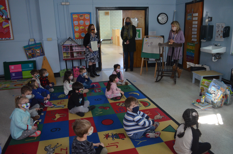 Westfield Mayor Shelley Brindl and Dr. Adele Ellis visited with teachers and students at Holy Trinity School.