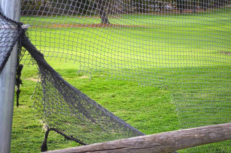 Broken netting at the Shady Rest Clubhouse in Scotch Plains