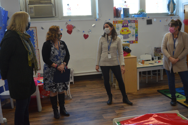 Westfield Mayor Shelley Brindle and Dr. Adele Ellis visited with teachers and students at Holy Trinity School.