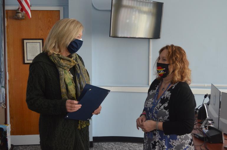 Westfield Mayor Shelley Brindle with Holy Trinity principal Dr. Adele Ellis.