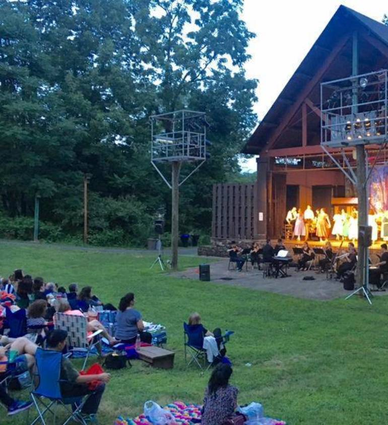 Relaxing at outdoors theater