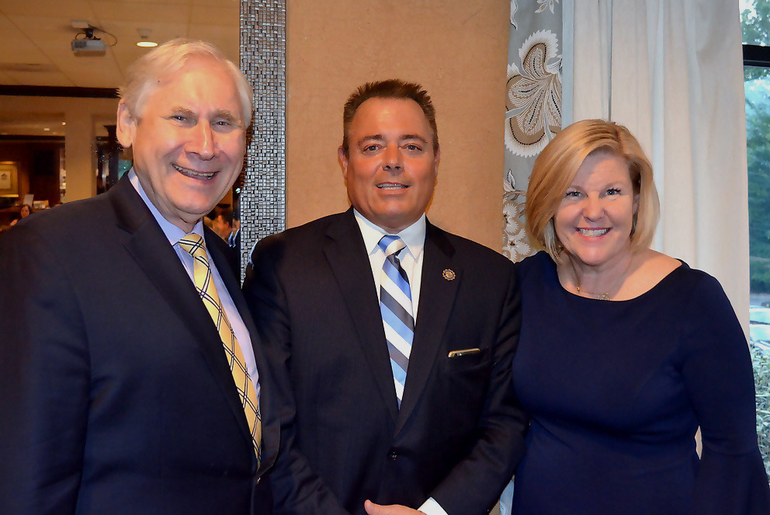 Scotch Plains Mayor Al Smith, Fanwood Police Chief  Richard Trigo and Fanwood Mayor Colleen Mahr.