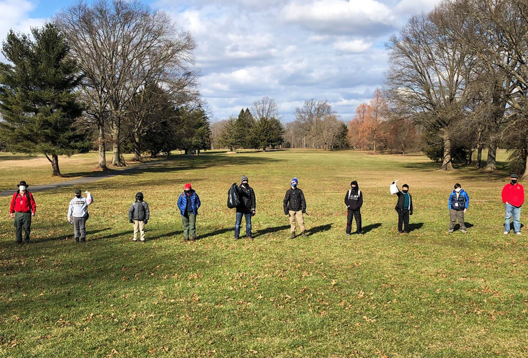BSA Troop 104 participates in the Scotch Plains-Fanwood MLK Day of Service by picking up litter at Oak Ridge Park.