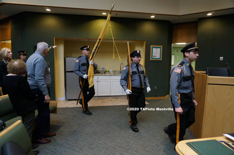 b The Montville Police Explorers bring in the colors ©2020 TAPinto Montville  3.JPG