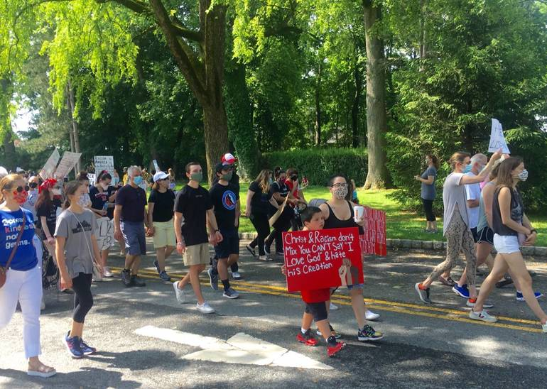Bernardsville marchers leave high school