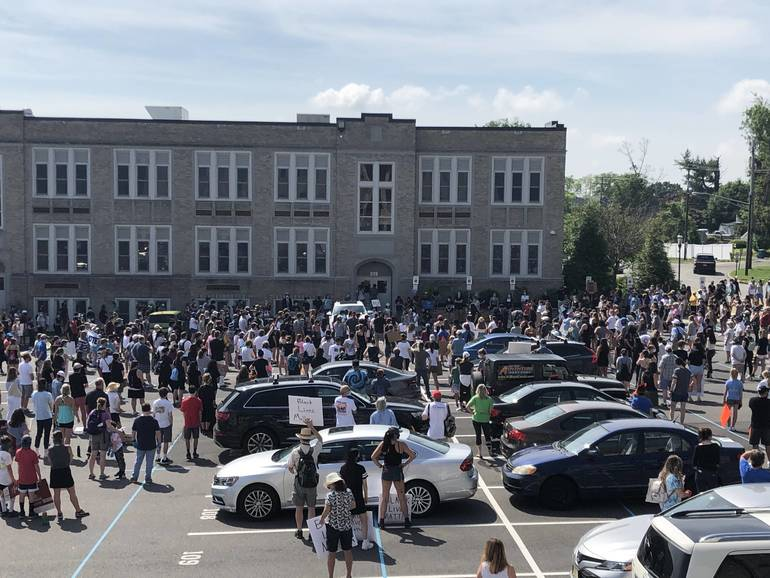 Marchers gather at Bernards High School