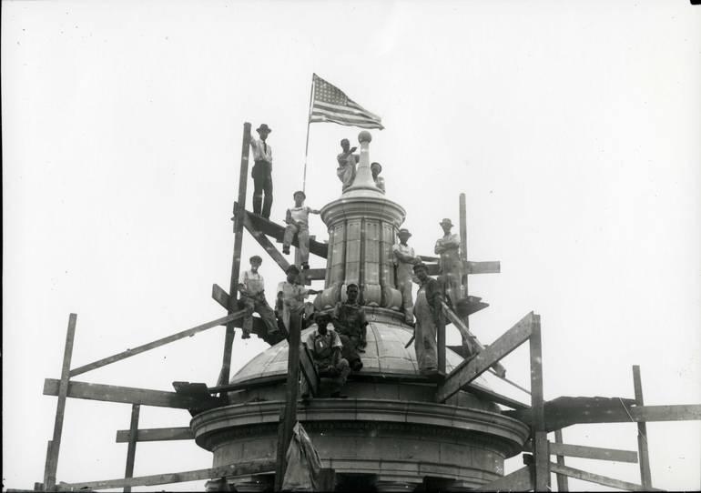 Building the Cupola on Plainfield City Hall, 1918.