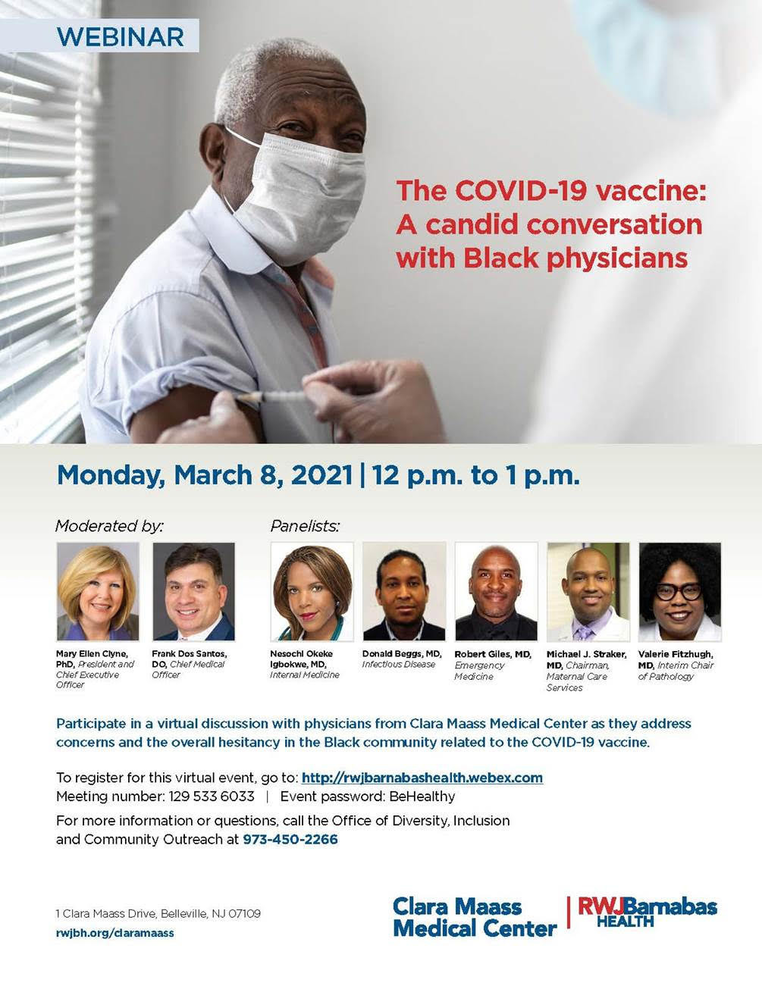 Free Webinar to Address Concerns for the Black Community Hosted by Clara Maass Medical Center