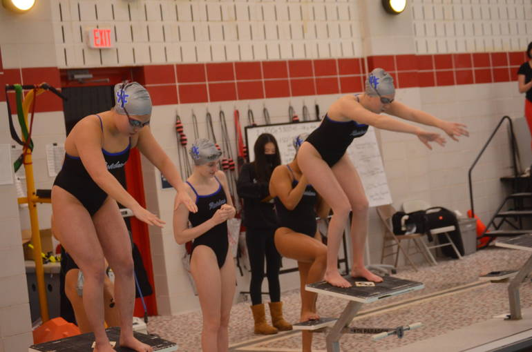 Scotch Plains-Fanwood swimming's Carolyn Joe (left) and Julia Bonhote (right).