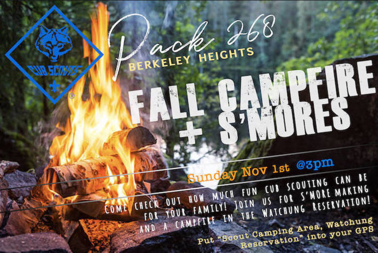 Join Cub Scout Pack 268 for Fall Campfire and S'mores