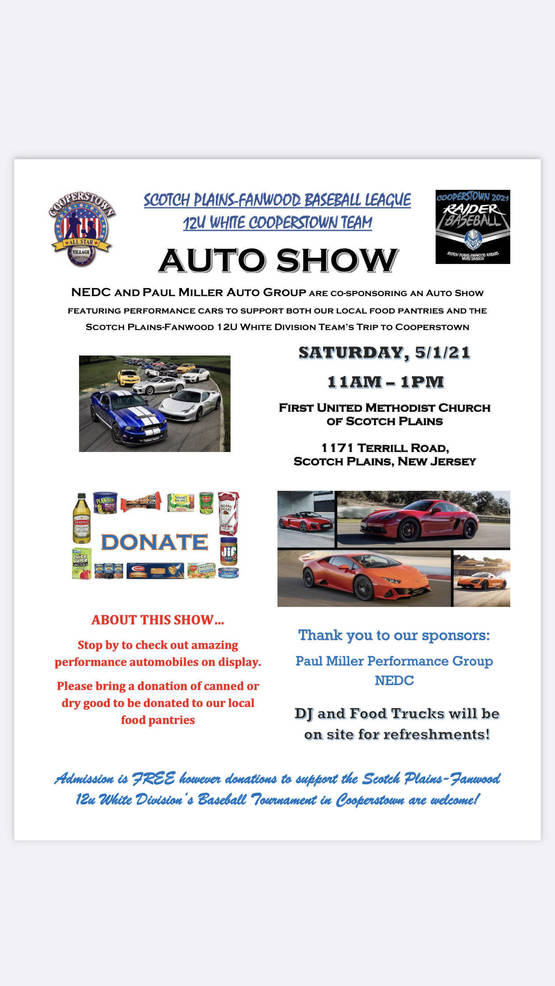 Performance Car Show Saturday in Scotch Plains Will Raise Money for 12U Cooperstown Team