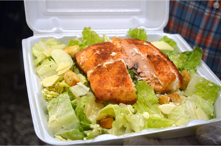 Caesar salad with salmon from Scotchwood Diner in Scotch Plains.
