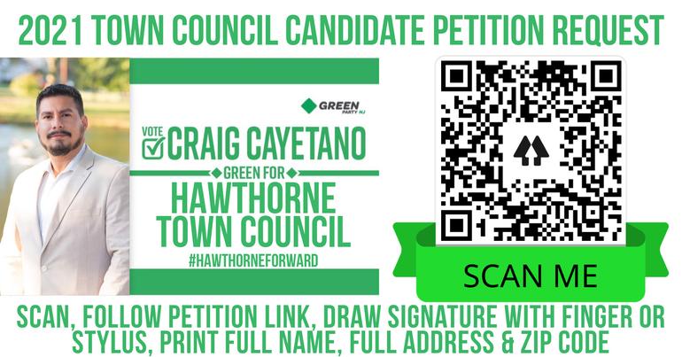 Craig Cayetano, Cayetano4Council, Cayetano For Council, Hawthorne, Passaic County, New Jersey, Green Party, Green Party of New Jersey