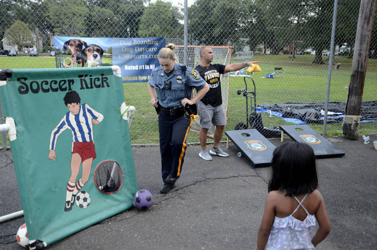 Fanwood police officer Kathy Case at the soccer game.