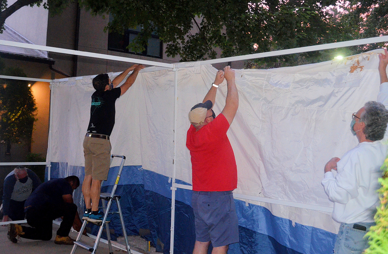 CBI Men's Group builds a Sukkah in Scotch Plains.