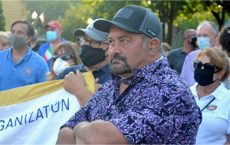Garry Pastore at the march in support of the Scotch Plains Columbus monument on Tuesday, July 21, 2020.