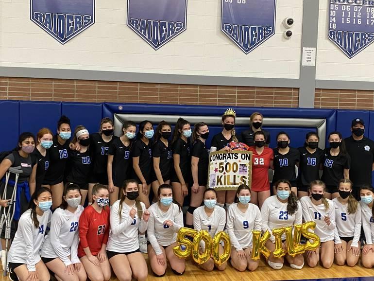 Scotch Plains-Fanwood volleyball players celebrate teammate Adelina Berisha's 500th career kill against Union Catholic