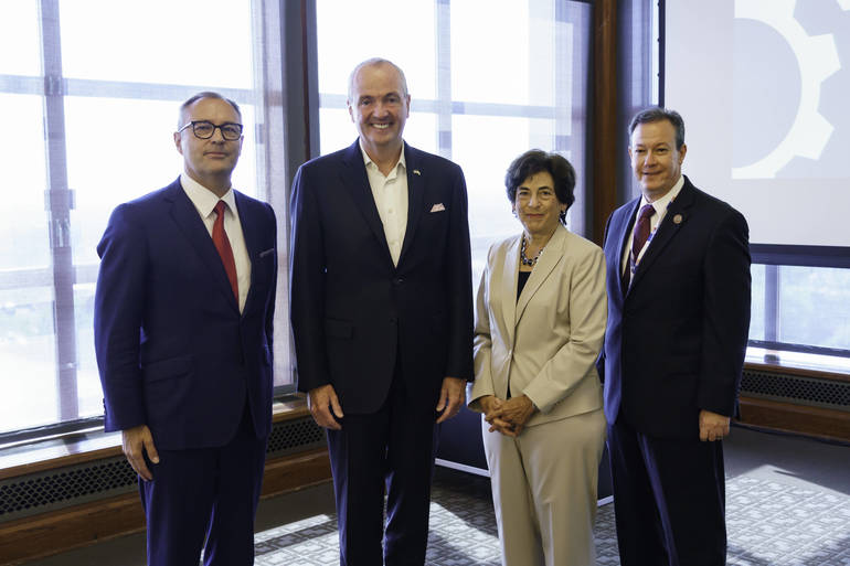 CEO Andreas Fibig, Governor Phil Murphy, Montclair State U President Dr. Susan Cole, County College of Morris President Dr. Anthony Iacono.jpg