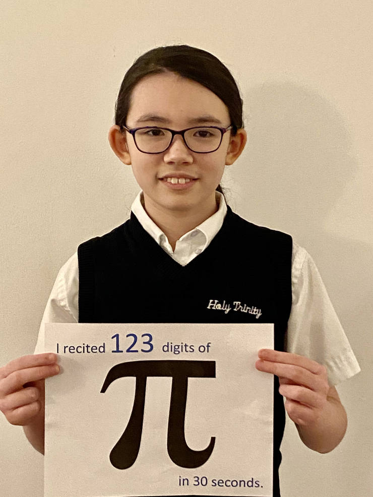 Charlotte McLaughlin recited the most digits of Pi: 123 of them!