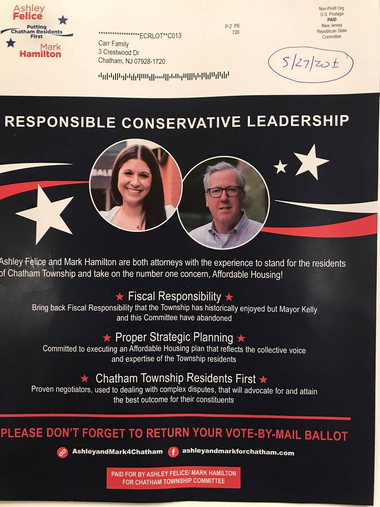 Chatham Township, NJ - A. Felice _ M. Hamilton campaign flyer re CTC Republican primary Tu 7_7_2020 doc dated approx 5_27_2020page1of2.jpg