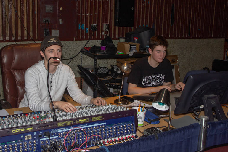 Chris Soravilla and Matthew Frogel running tech for a dress rehearsal.JPG
